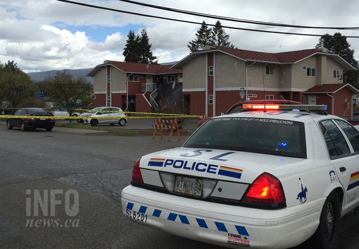 Police have cordoned off a housing complex at Comox St and Creston Ave this morning, Wednesday, April 26.