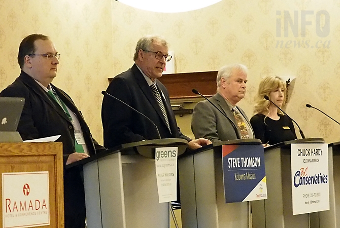 Incumbent and B.C. Liberal candidate Steve Thompson was joined by Shelley Cooke of the B.C. NDP, Charles Hardy representing the B.C. Conservative Party and Rainer Wilkins for the B.C. Green Party at the Chamber of Commerce candidates forum, Wednesday, April 26, 2017.