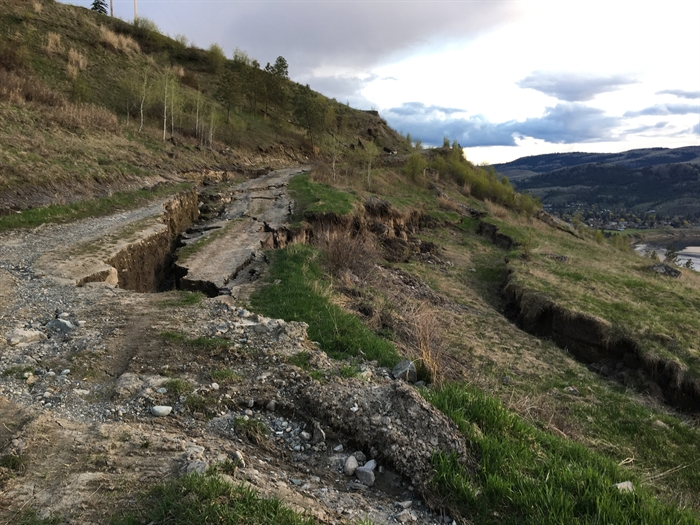 The unstable hillside in the Palmer-Forsyth area north of Kamloops is pictured in this photo submitted by the City of Kamloops.