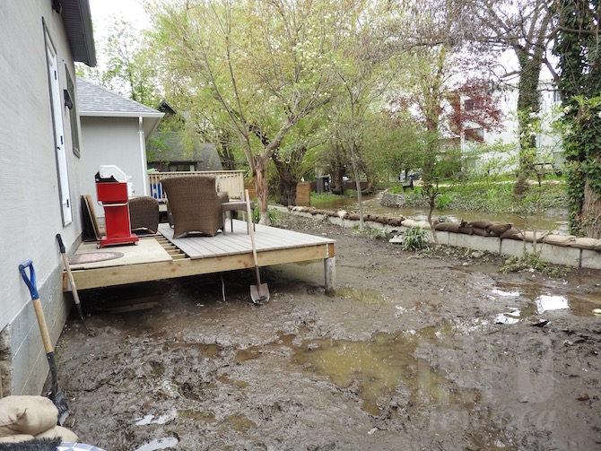 Feist's backyard on Marshall Street in Kelowna after the flooding on Monday, May 8.
