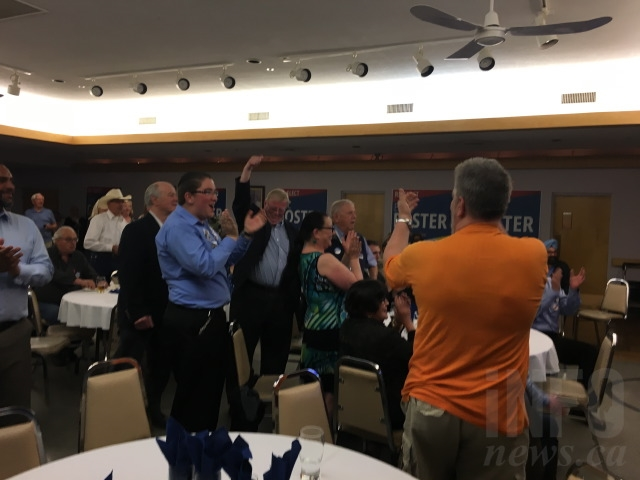 Crowd goes wild after Foster wins his seat.