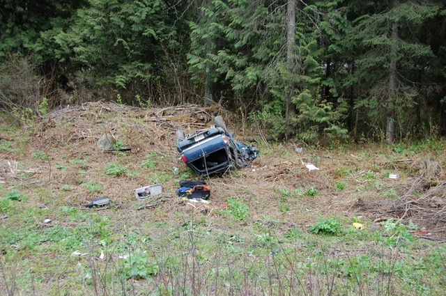 The driver was taken to Kamloops hospital with serious injuries.