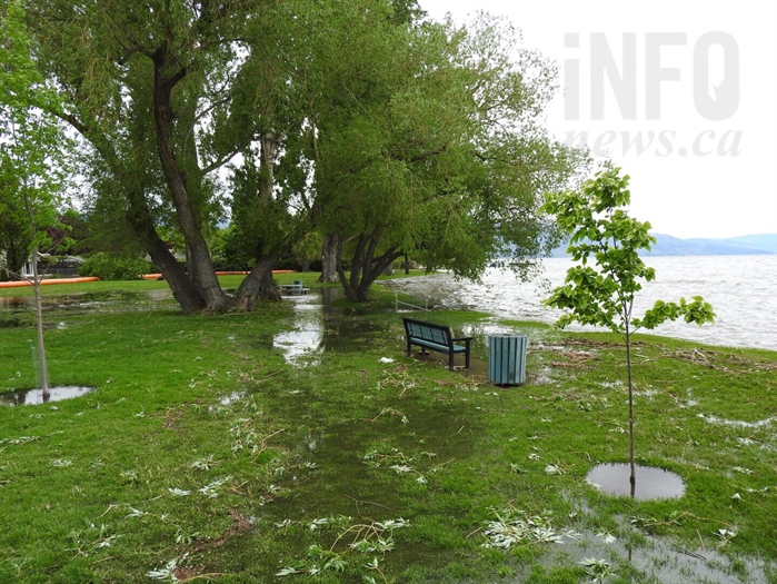 Lake water has saturated a large portion of Kinsmen Park, in Kelowna.