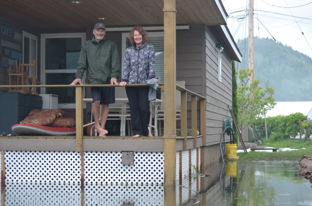 Carole and Karl Giesbrecht prepare to leave their summer home on Okanagan Lake due to an evacuation order.