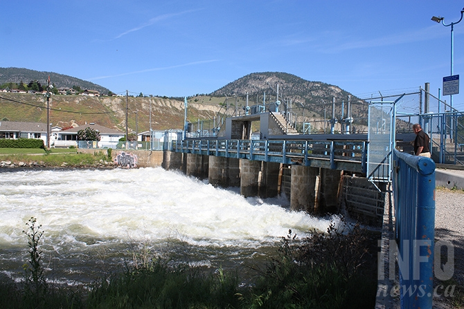 Discharge at Okanagan Lake dam at the mouth of the Okanagan river channel on Monday, May 29. Downstream in Osoyoos, Mayor Sue McKortoff says the town is working proactively to prevent flooding in Osoyoos, with water levels remaining relatively stable.