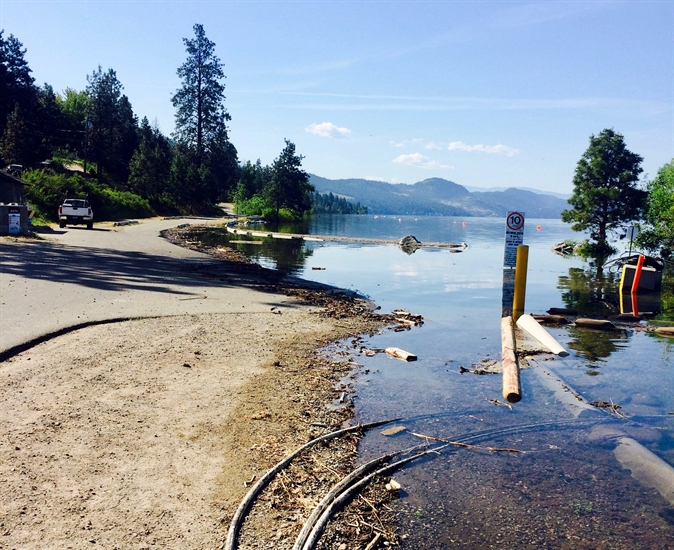 The boat launch and dock at Okanagan Centre Safe Harbour Regional Park in Lake Country is closed due to rising water on Okanagan Lake.