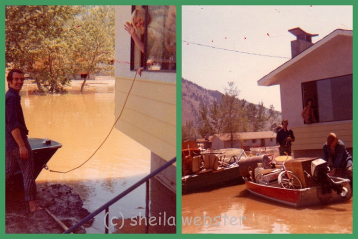 Oak Hills residents get around by boat during a flood in June of 1972.