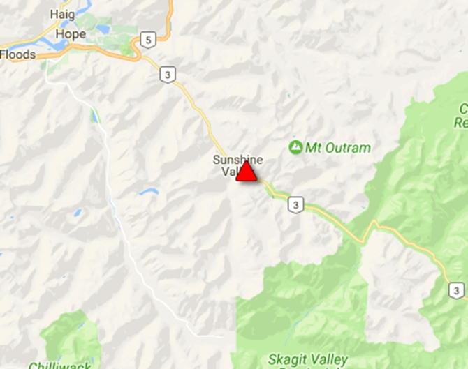Drive BC is reporting Highway 3 closed eastbound between Manning Park gate and Sunshine Valley this afternoon, June 2, 2017.