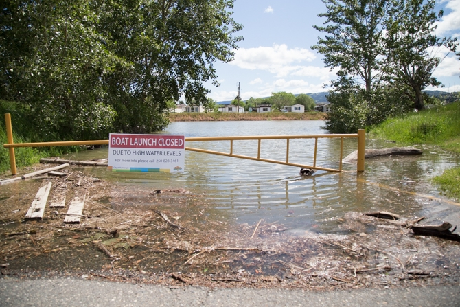 The City of Kamloops closed the boat launch at McArthur Island Park due to high water.