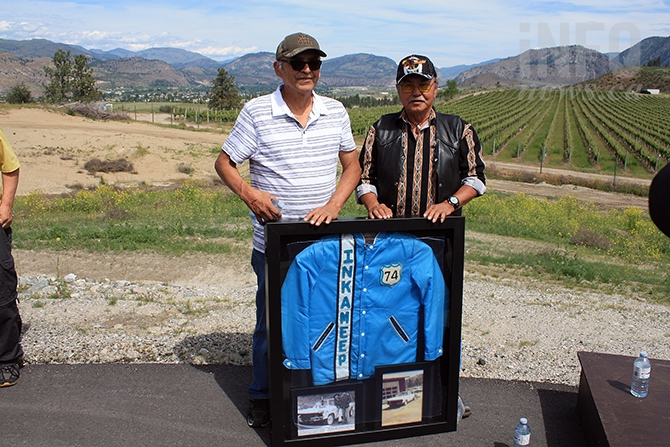 Osoyoos Indian Band members Richard Baptiste and Paul Louie George were recognized Saturday for their heritage as native stock car racers form 1971 to 1973, driving througout the Okanagan, south of the border to Wenatchee. Clarence Louie called it