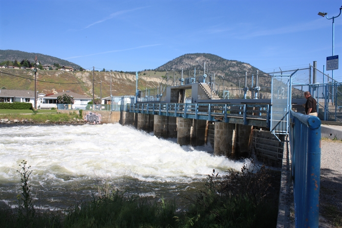 Water flow through the dam on June 5, 2017.