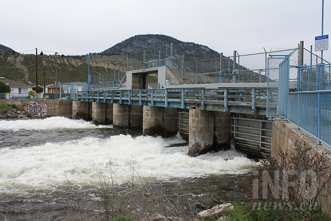 Water flow through Okanagan Lake dam on May 7, 2017.