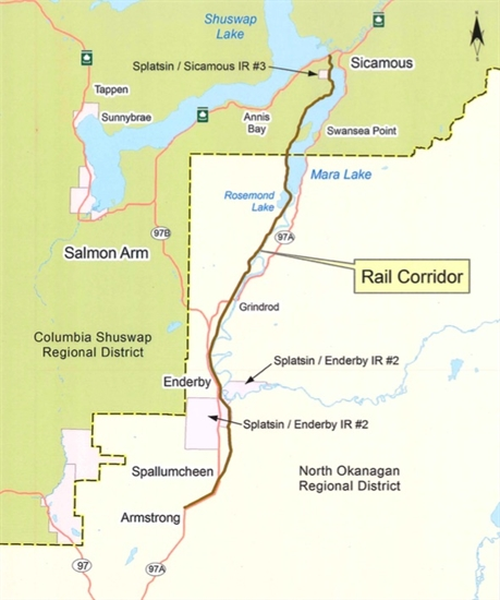 A map of the rail corridor.