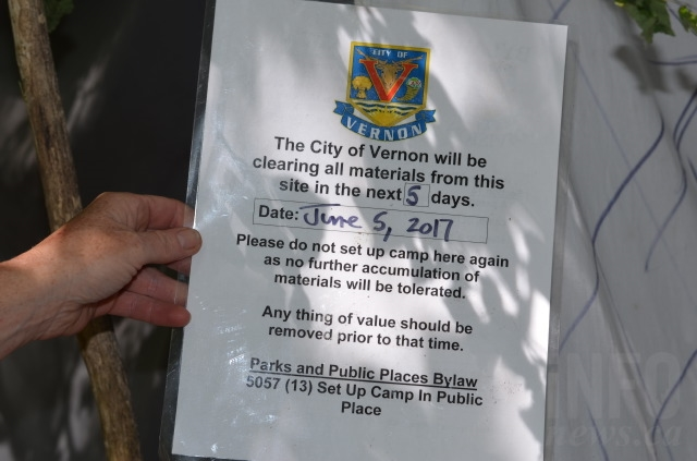 Some campers have been given notices informing them that certain shelters are not allowed.