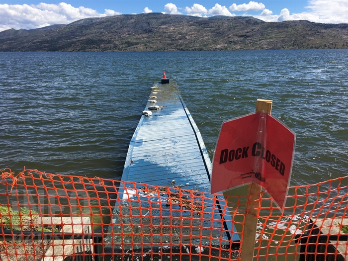 Many docks around the Okanagan have been severely damaged, or completely torn away due to rough waves caused by heavy winds.