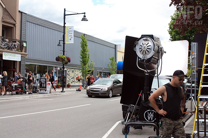 Business continued as usual on Penticton's 200 block of Main this morning as a movie set filmed on the street.