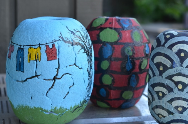 Buoys painted by community members.