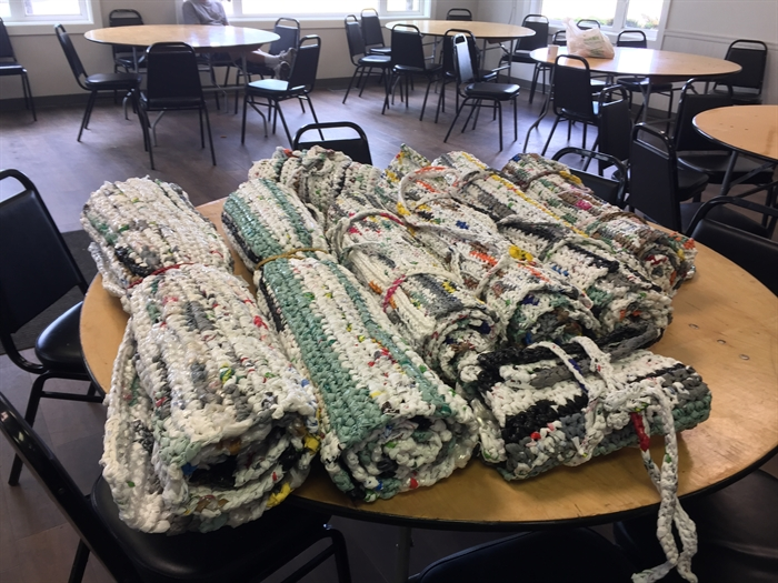 Shar Froese hopes these mats can offer some comfort to those with nowhere else to go.
