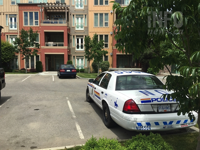 A police presence could be seen at an apartment complex located at 7343 Okanagan Landing Rd. in Vernon June 21, 2017.