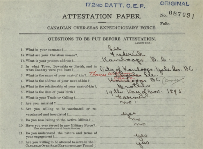 This is a portion of Frederick Lee's attestation papers when he volunteered to fight in WWI.
