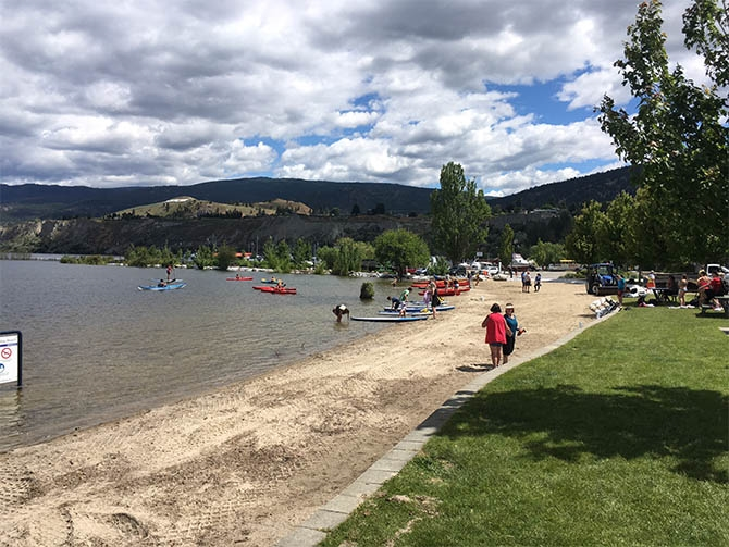Okanagan Lake Park beach this afternoon, June 21, 2017.