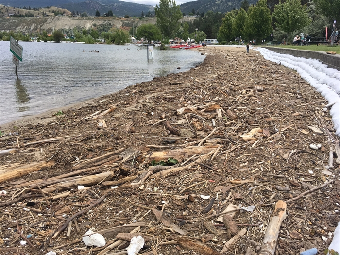 A look at the beach at Okanagan Lake Park prior to today's effort, June 21, 2017.