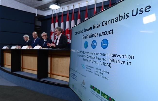 Dr Benedikt Fischer, right, speaks in Ottawa on Friday, June 23, 2017. He is joined by an international team of experts as they release guidelines aimed at lowering the health risks of cannabis use.