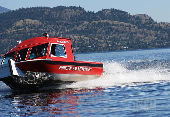 Penticton Fire Department's new rescue boat was officially launched on Okanagan Lake this afternoon, June 23, 2017,  following a demonstration for the media on Skaha Lake.