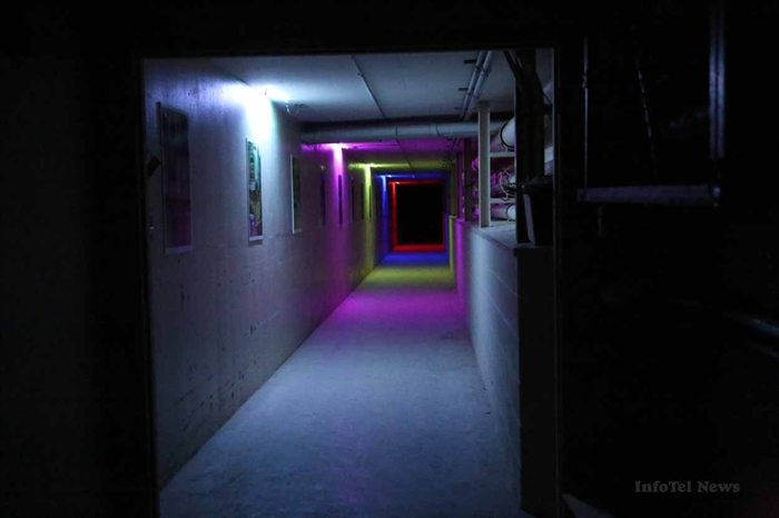 Colourful lights lead the way into the tunnels under the old sanatorium in Kamloops, where you are quickly enveloped in darkness.