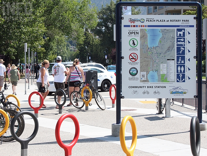 FILE PHOTO-Penticton's investment in cycling amenities, such as this community bike station,  could be at risk if the city can't control its high rate of bike theft.
