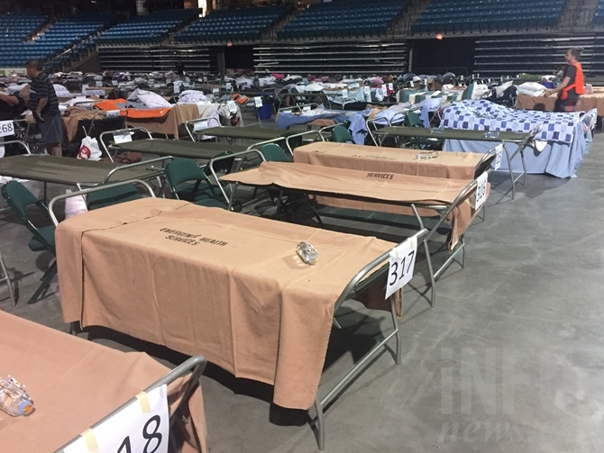 What would normally be the Blazers ice surface is still home to hundreds of evacuee cots.