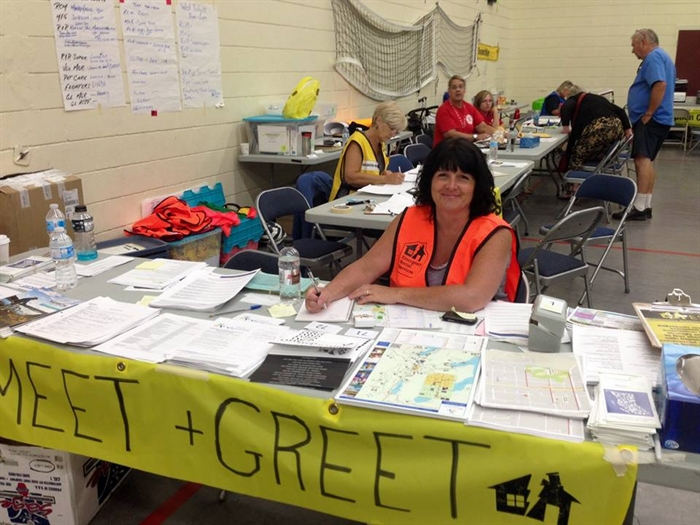 Reception Centre volunteer Virginia Lange at the meet and greet station of Vernon's evacuee reception centre.