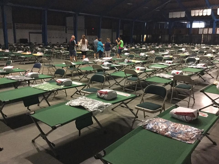 More than 400 beds were set up as emergency lodging for evacuees in Vernon.