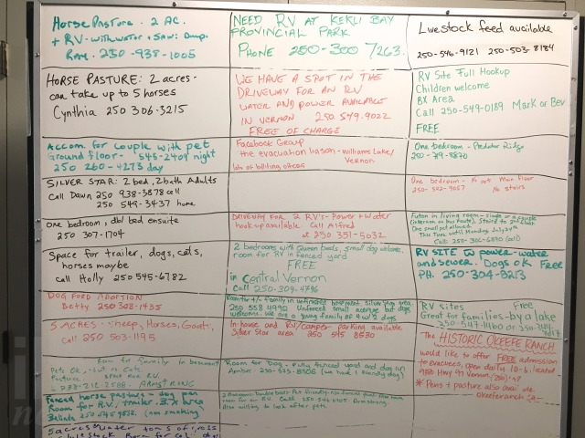 There's been an outpouring of support from the Vernon community, as seen on this whiteboard of messages for evacuees.