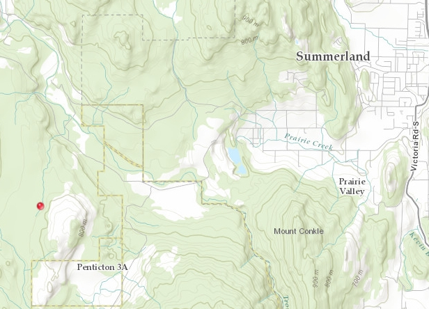 A fire started Monday afternoon, one kilometre up Shingle Creek Road, above Summerland.