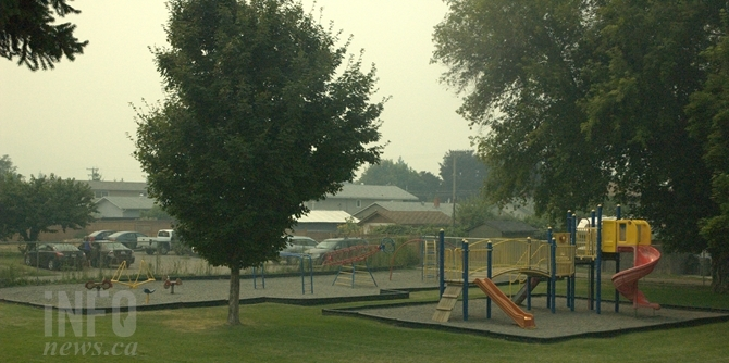 Kamloops parks are empty on a weekday afternoon as parents keep their kids inside and away from the smoke.