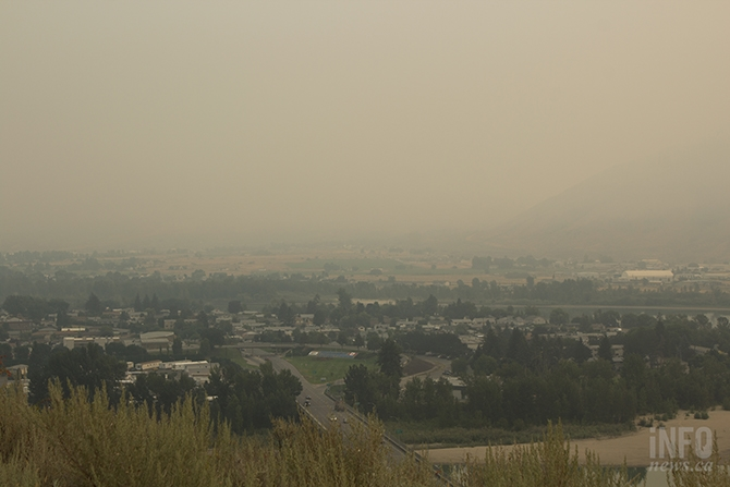 The North Shore of Kamloops was barely visible from Lower Sahali today, Aug. 3.