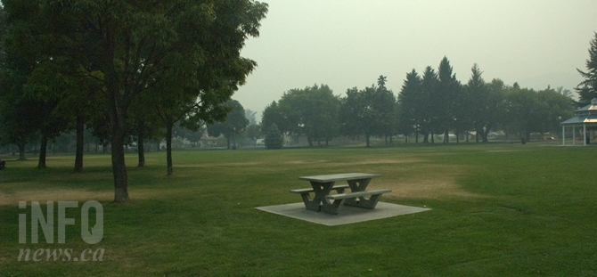 Normally bustling with activity during the summer months McDonald Park is empty today, Aug 3.