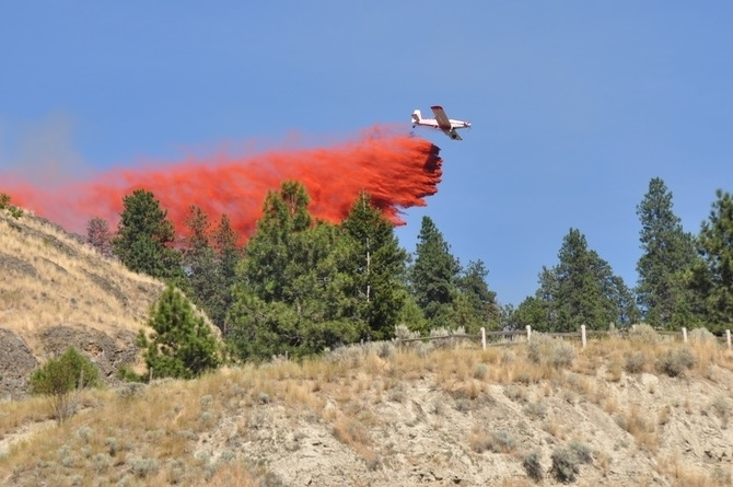 Air support was brought in from Kamloops to help knock down a grass fire police say was started deliberately on Knox Mountain July 30, 2017.