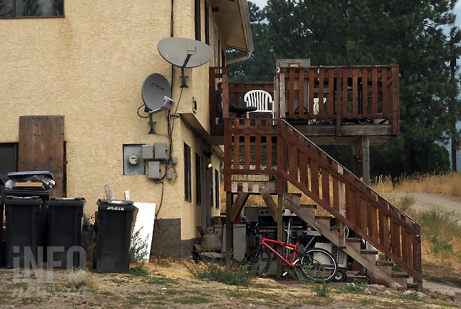 A West Kelowna woman says as many as 20 people stay at this run down fourplex on Sharf Road at a time.