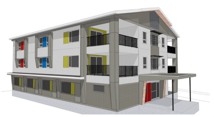 The artist rendering of the completed staff accommodation building.