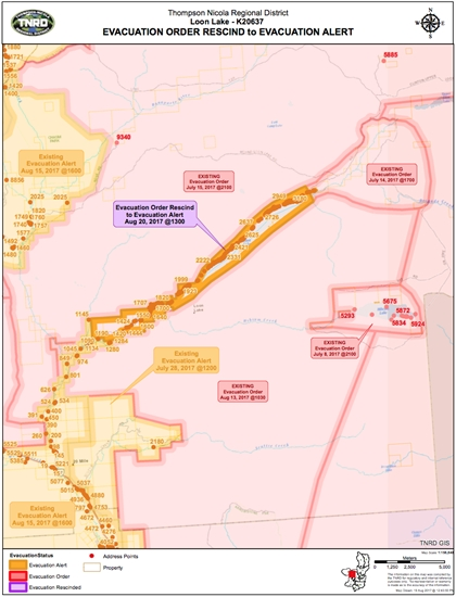 A map of the Loon Lake area that is being downgraded from and evacuation order to an evacuation alert.