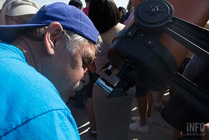 Peter Pel took in the eclipse with a telescope at TRU.