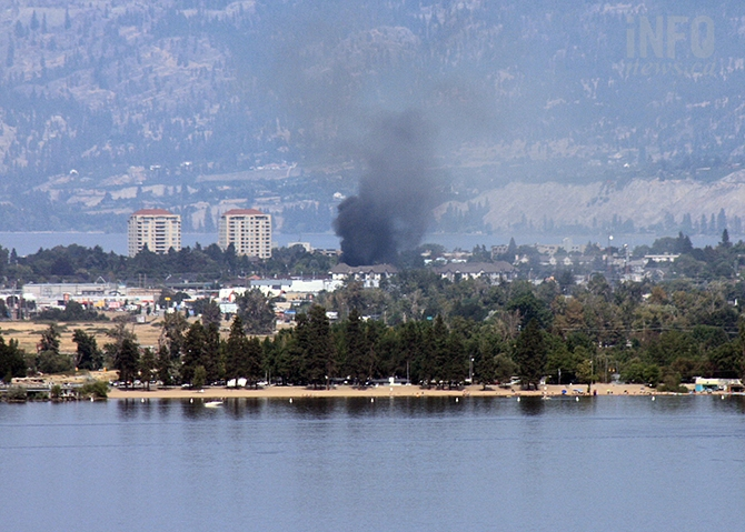 Smoke from a mobile home fire on Hastings Avenue in Penticton can be seen for kilometres, Monday, Aug. 28, 2017.