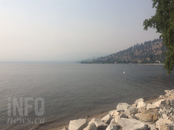 Smoke from the Peachland wildfire today, Sep. 3.
