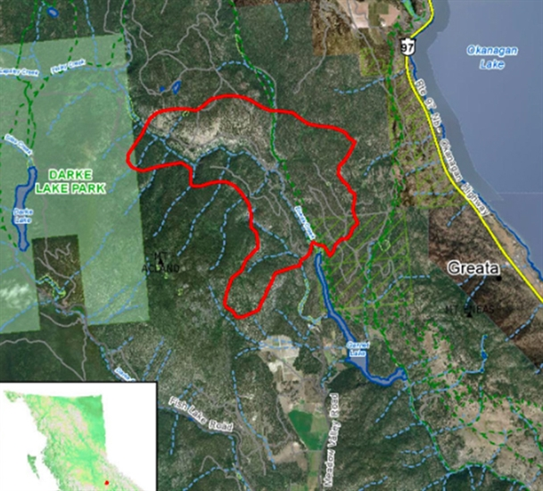 This map from the B.C. Wildfire Service shows the Finlay Creek wildfire.