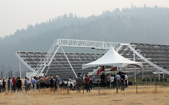 A crowd of approximately 75 gathered to witness the commissioning of the CHIME radio telescope this afternoon, Sept. 7, 2017.