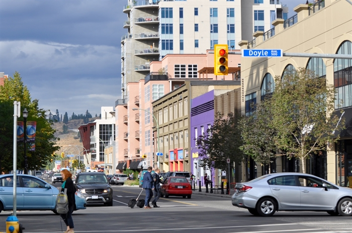 Ellis Street at Doyle Avenue in downtown Kelowna.