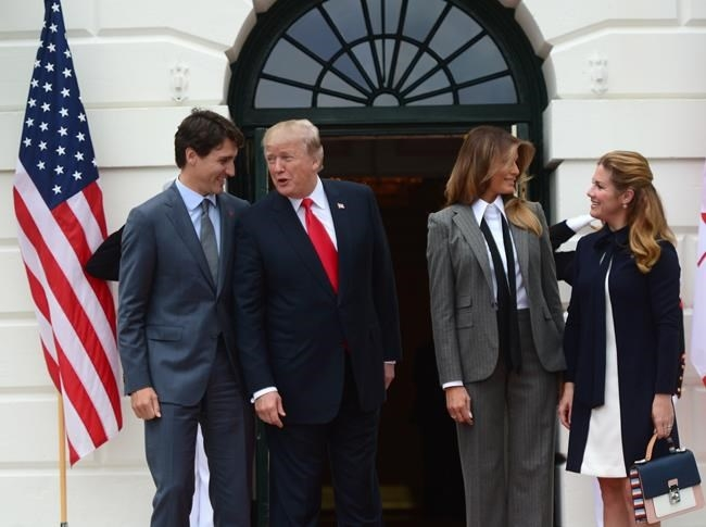 Prime Minister Justin Trudeau and his wife Sophie Gregoire Trudeau are welcomed to the White House by U.S. President Donald Trump and his wife Melania in Washington, D.C. on Wednesday, Oct. 11, 2017.