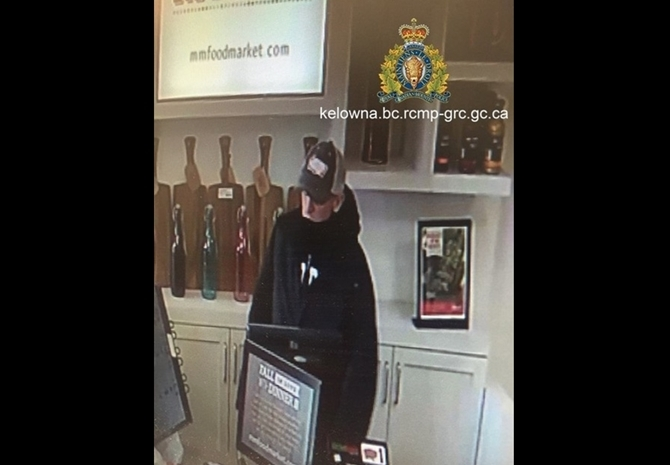 Kelowna RCMP were looking for this man who allegedly stole cash and a purse from the M & M Food Market on Harvey Avenue on Sunday, Oct. 15, 2017.